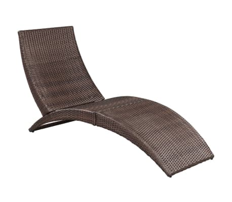 Acheter vidaxl chaise longue pliable avec coussin marron for Chaise longue resine tressee pas cher