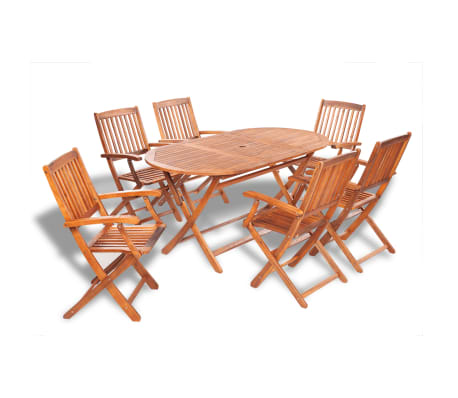 Vidaxl Outdoor Dining Set 7 Pieces Acacia Wood 1 9