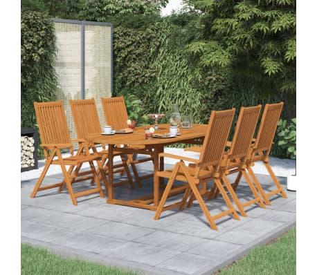 acheter vidaxl mobilier de jardin 7 pcs table extensible bois pas cher. Black Bedroom Furniture Sets. Home Design Ideas