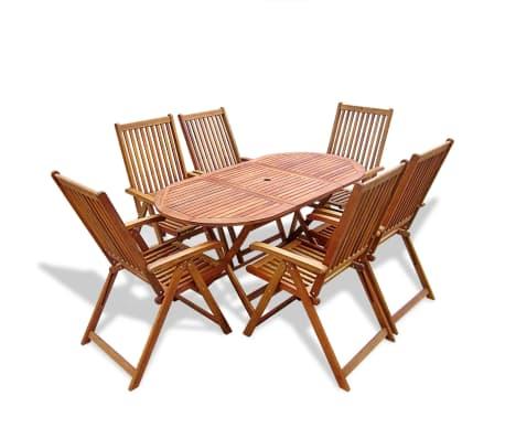 Tavoli E Sedie In Legno Da Esterno.Vidaxl Legno Di Acacia Set Da Pranzo Per Esterno 7 Pz Pieghevole