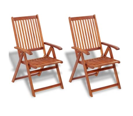 vidaXL Folding Garden Chairs 2 pcs Solid Acacia Wood Brown-picture