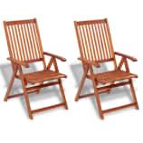 vidaXL Outdoor Dining Chair 2 pcs Acacia Wood