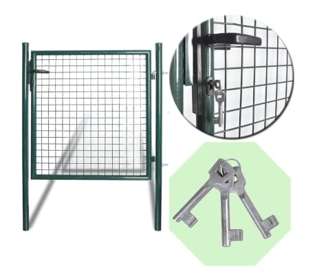 vidaXL Single Door Fence Gate Powder-Coated Steel[7/7]