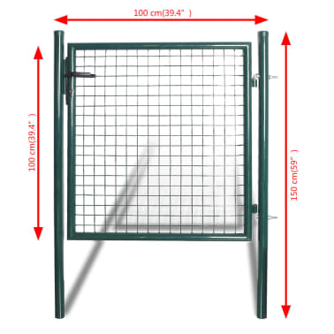 vidaXL Single Door Fence Gate Powder-Coated Steel[2/7]