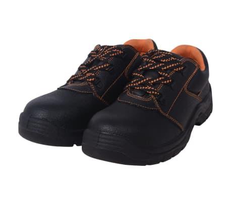 vidaXL sikkerhedssko sorte størrelse 42 læder
