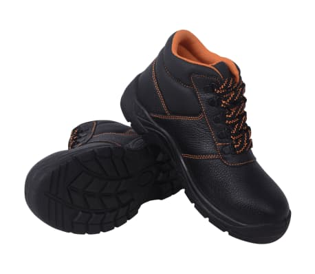 vidaXL Safety Shoes Black Size 7.5 Leather
