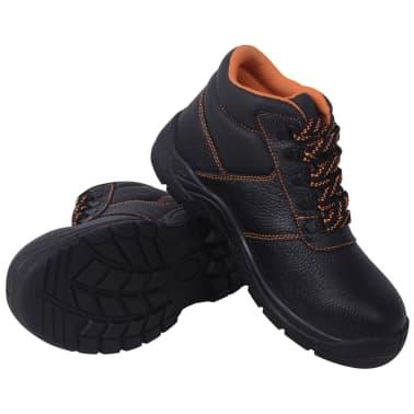 vidaXL Zapatos de seguridad tobillo alto Negros Talla 41 Cuero[1/7]