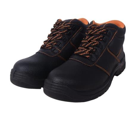 vidaXL Buty ochronne czarne, rozmiar 46, skórzane[2/7]