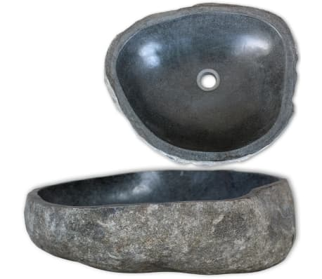 vidaXL Owalna umywalka z kamienia rzecznego, 30-37 cm