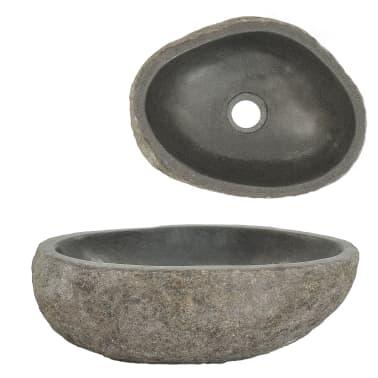 vidaXL Lavabo en pierre de rivière Ovale 30-35 cm[1/4]