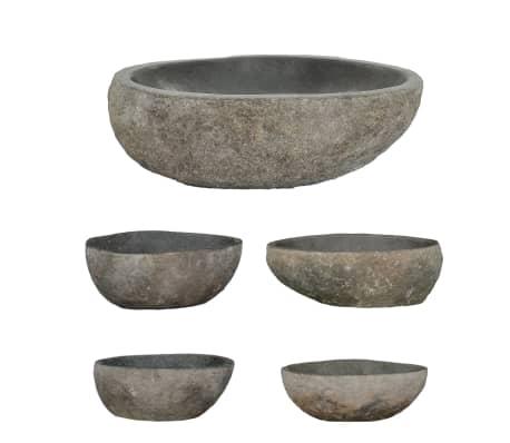 vidaXL Owalna umywalka z kamienia rzecznego, 30 - 35 cm[2/4]