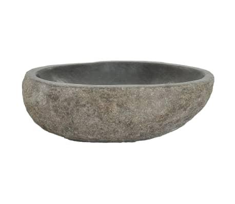 vidaXL Owalna umywalka z kamienia rzecznego, 30 - 35 cm[3/4]