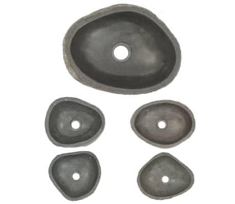 vidaXL Lavabo en pierre de rivière Ovale 30-35 cm[4/4]