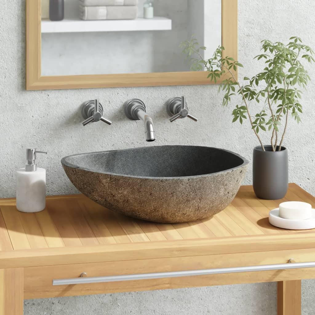 vidaXL Umyvadlo z říčního kamene oválné 40–45 cm