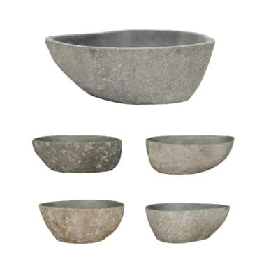 vidaXL Umyvadlo z říčního kamene oválné 38–45 cm[2/4]