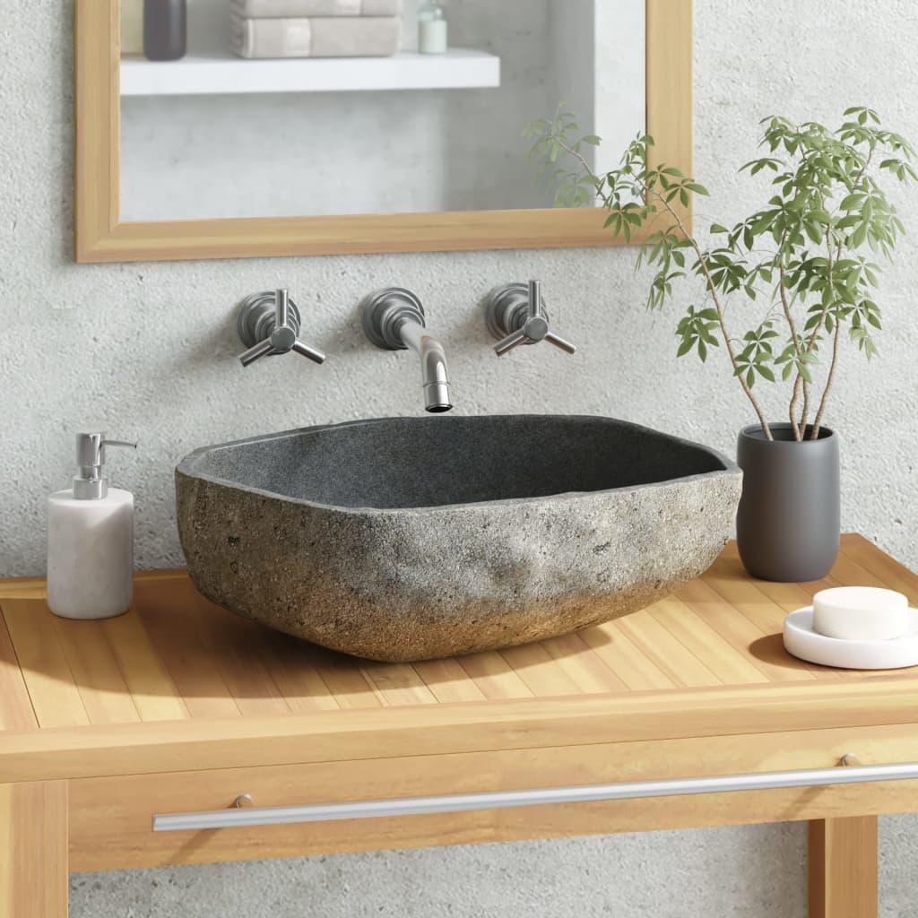 vidaXL Chiuvetă din piatră de râu, 46-52 cm, ovală imagine vidaxl.ro