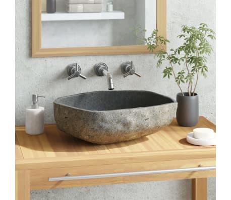 vidaXL Овална мивка от речен камък, 46-52 см
