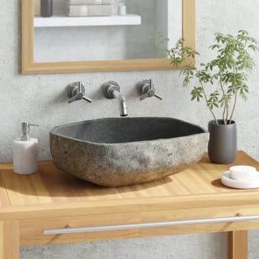vidaXL Waschbecken Flussstein oval 46-52 cm[1/4]