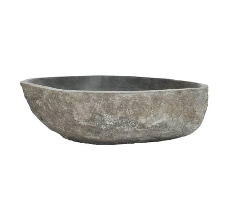 vidaXL Lavabo en pierre de rivière Ovale 46-52 cm[3/4]