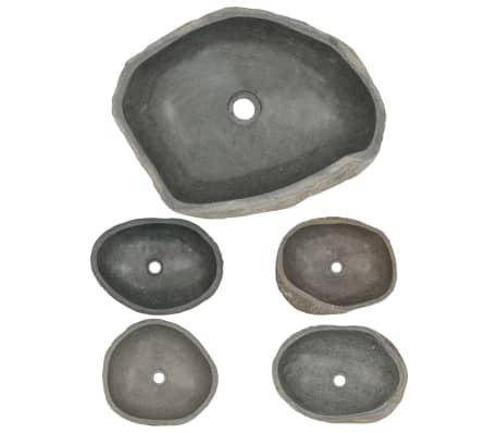 vidaXL Waschbecken Flussstein oval 46-52 cm[4/4]