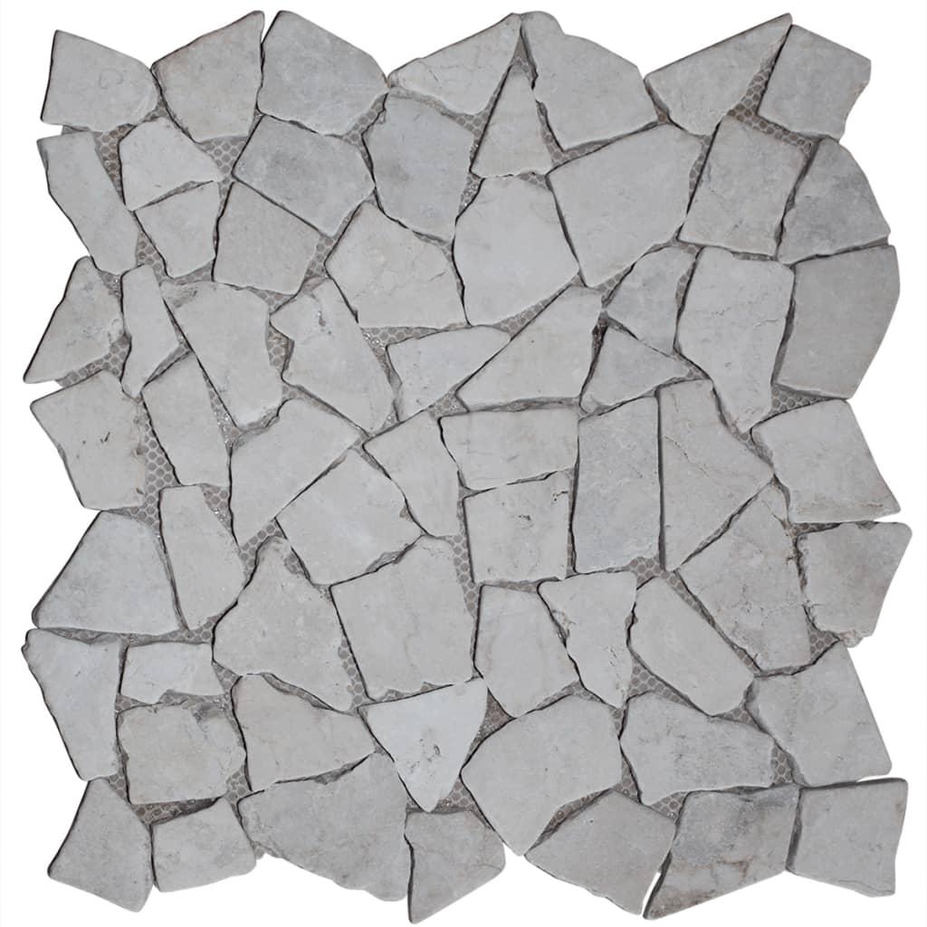 vidaXL Mozaikové dlaždice 11 ks, zlatý mramor, 1 m²