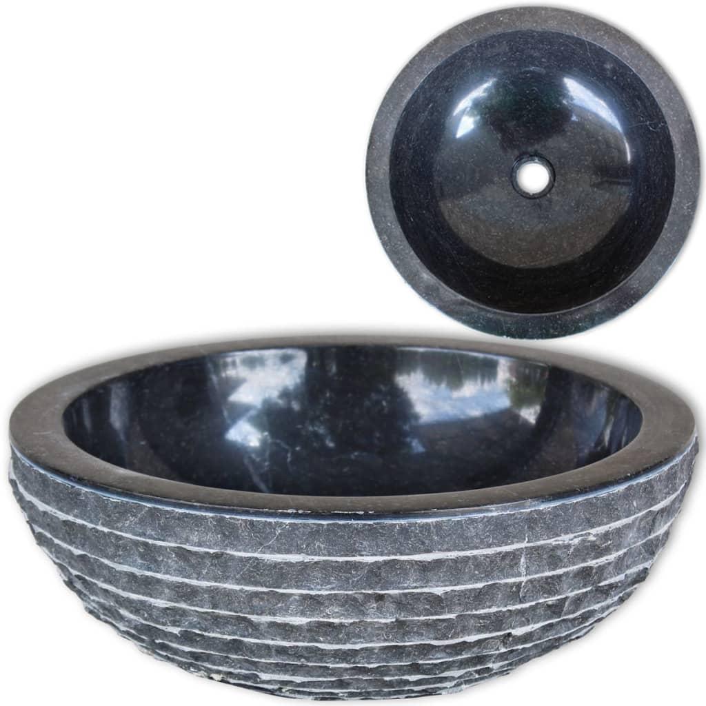 vidaXL Chiuvetă, negru, 40 cm, marmură vidaxl.ro