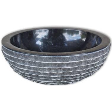 "vidaXL Basin Marble 15.7"" Black[2/4]"