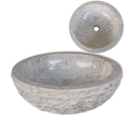 "vidaXL Basin Marble 15.7"" Cream[1/5]"