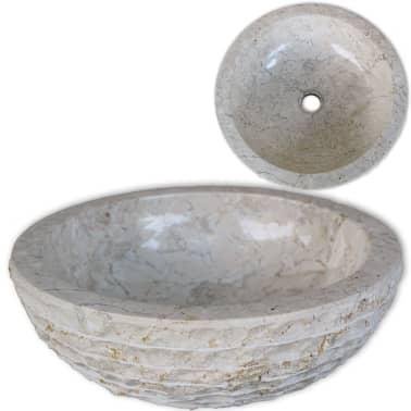 vidaXL Umywalka marmurowa, 40 cm, kremowa[1/5]