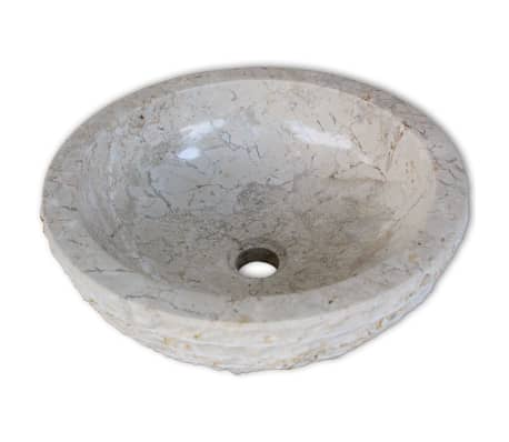 vidaXL Umywalka marmurowa, 40 cm, kremowa[3/5]