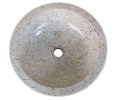 vidaXL Umywalka marmurowa, 40 cm, kremowa[4/5]