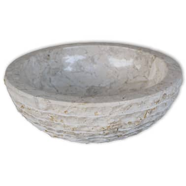 "vidaXL Basin Marble 15.7"" Cream[2/5]"