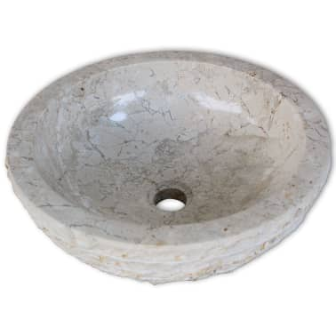 "vidaXL Basin Marble 15.7"" Cream[3/5]"