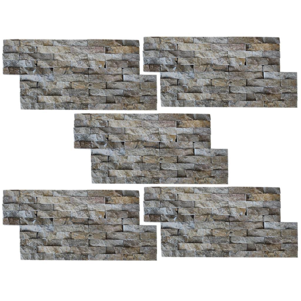 Afbeelding van vidaXL Muurbekledingspanelen 5 stuks Marmer Goud 0,5 m2