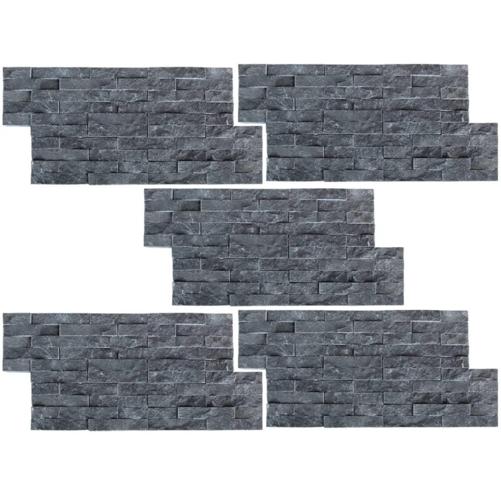 Afbeelding van vidaXL Muurbekledingspanelen 5 stuks Marmer Zwart 0,5 m2