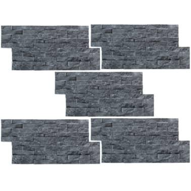 vidaXL Sienų Apdailos Plokštės, 5 vnt., Marmuras, Juodos, 0,5 m2[2/4]