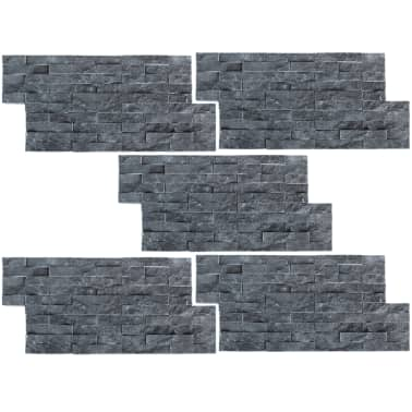 vidaXL Wall Cladding Panels 5 pcs Marble Black[2/4]