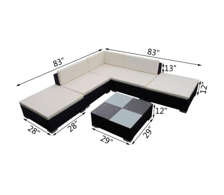 vidaXL Garden Lounge Set 15 Pieces Poly Rattan Black[6/6]