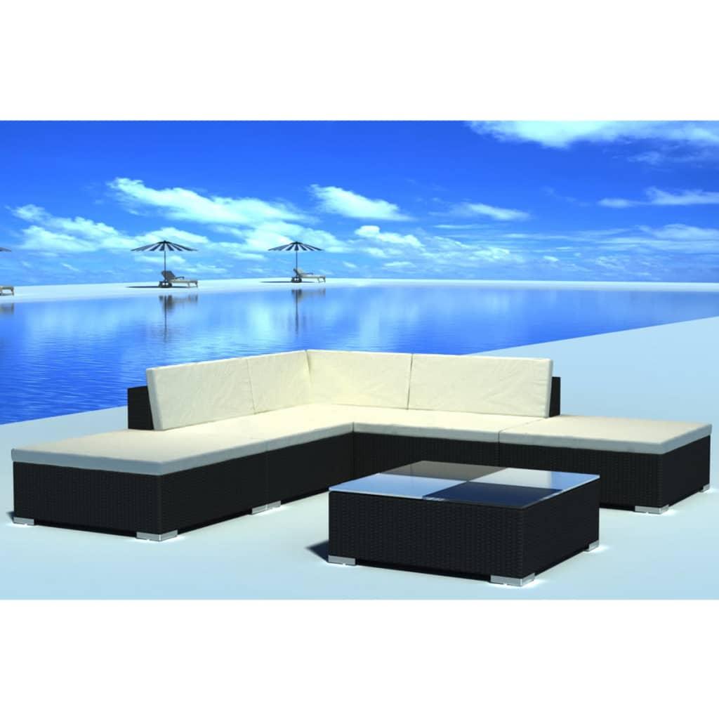 vidaXL Set mobilier de grădină cu perne, 6 piese, negru, poliratan imagine vidaxl.ro