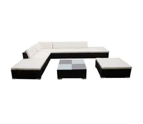 vidaXL 8 Piece Garden Lounge Set with Cushions Poly Rattan Brown[2/8]