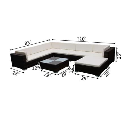 vidaXL Garden Lounge Set 24 Pieces Poly Rattan Brown[8/8]