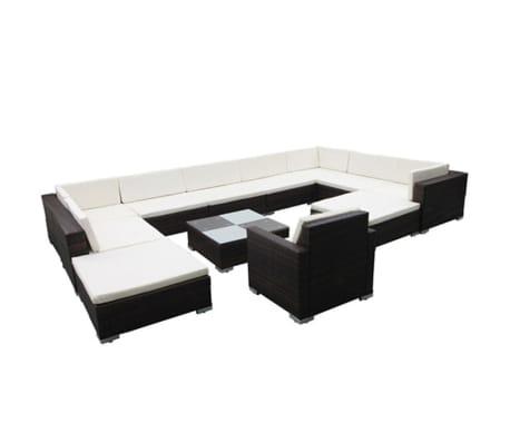 vidaXL 12 Piece Garden Lounge Set with Cushions Poly Rattan Brown[2/8]