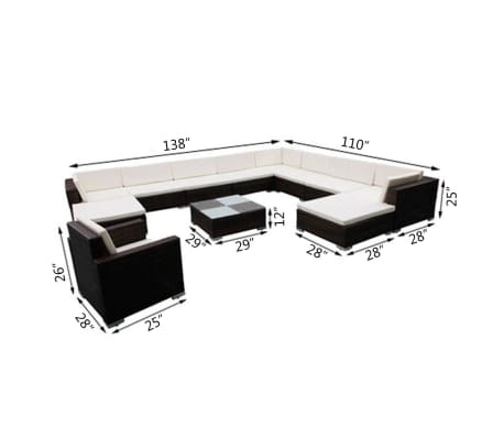 vidaXL 12 Piece Garden Lounge Set with Cushions Poly Rattan Brown[8/8]