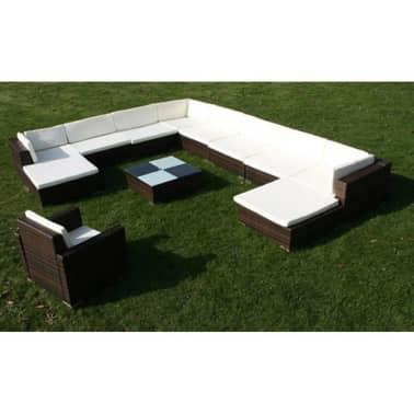 vidaXL 12 Piece Garden Lounge Set with Cushions Poly Rattan Brown[3/8]