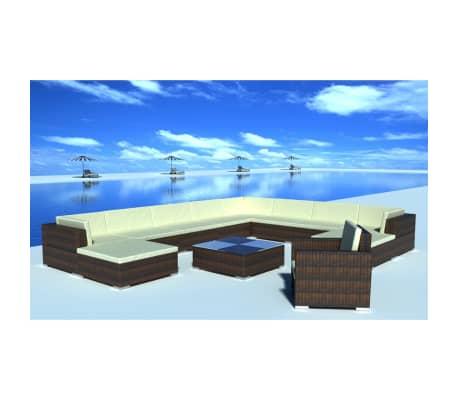 vidaXL 12 Piece Garden Lounge Set with Cushions Poly Rattan Brown[1/8]