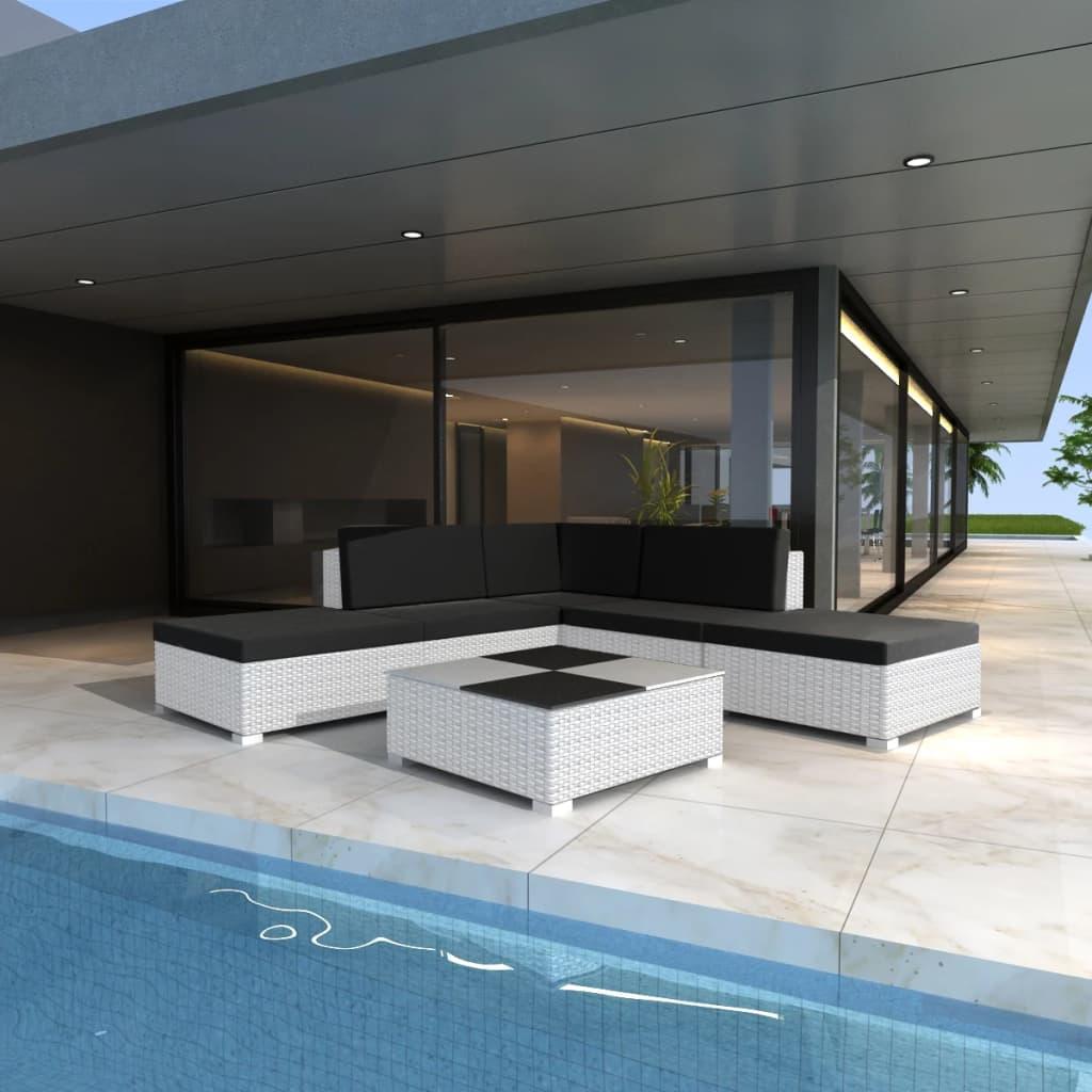 vidaXL Set mobilier de grădină cu perne, 6 piese, alb, poliratan vidaxl.ro