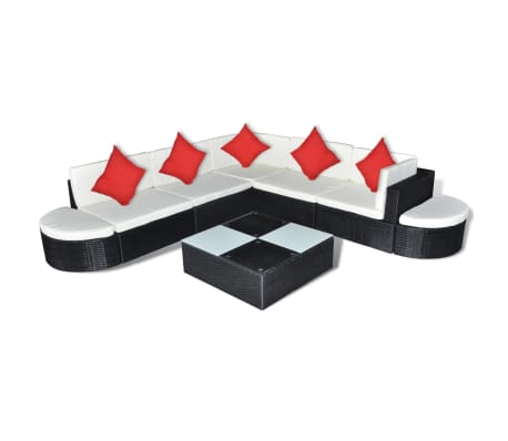 vidaXL 8 Piece Garden Lounge Set with Cushions Poly Rattan Brown[2/4]
