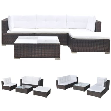vidaXL 5 Piece Garden Lounge Set with Cushions Poly Rattan Brown[2/12]