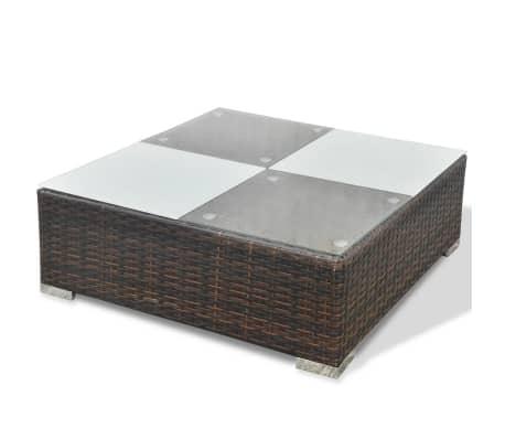 vidaXL 5 Piece Garden Lounge Set with Cushions Poly Rattan Brown[12/12]