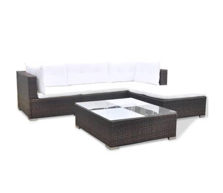 vidaXL 5 Piece Garden Lounge Set with Cushions Poly Rattan Brown[4/12]